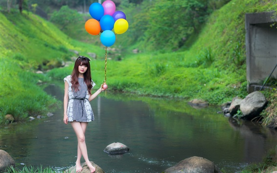 Wallpaper Asian girl, colorful balloons, stream