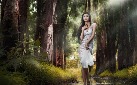 Fond d'écran Fille asiatique dans la forêt, le ruisseau, l'eau