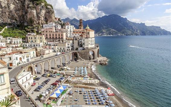 Fond d'écran Atrani, Salerno, Italie, Europe voyage, paysage urbain, ville, côte