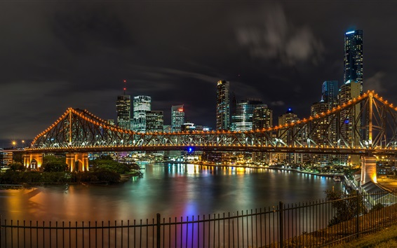 Wallpaper Australia, Brisbane, bridge, river, night, lights, city