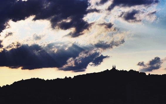 Wallpaper Austria, castle, clouds, sun rays, backlight