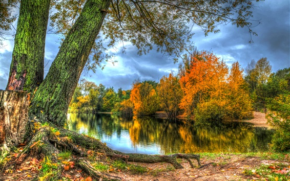 Fondos de pantalla Otoño, lago, árboles, nubes, estilo HDR