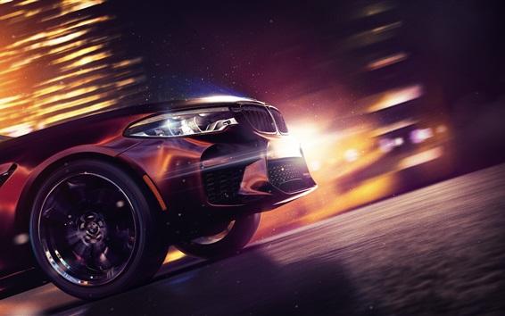 Fondos de pantalla Vista frontal del automóvil BMW M5, Need for Speed: recuperación de la inversión