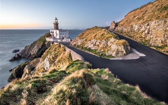 Wallpaper Baily lighthouse, Dublin, Ireland, road, sea, coast