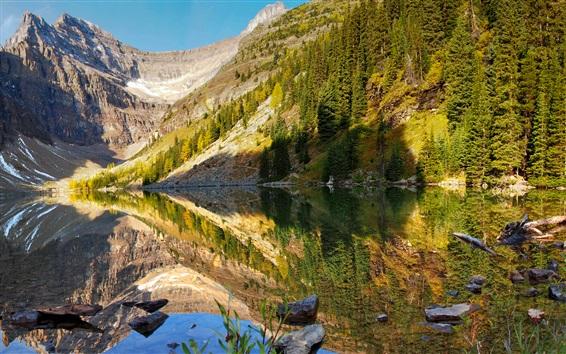 Обои Национальный парк Банф, горы, озеро, отражение воды