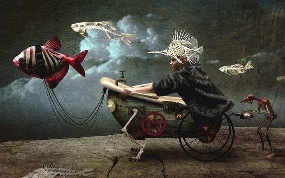 Wallpaper Bathtub car, girl, fish, bone, creative picture