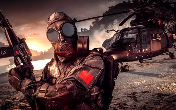 Fondos de pantalla Battlefield 4, máscara de gas, soldado