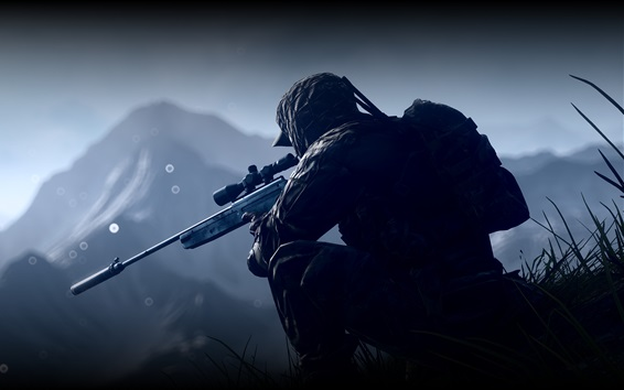 Обои Battlefield 4, солдат, снайпер
