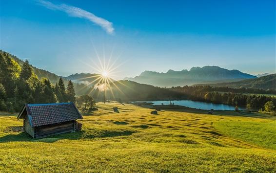 Fond d'écran Bayern, Allemagne, herbe, arbres, cabane, lac, levers de soleil, aube