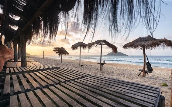 Wallpaper Beach, sea, pavilion