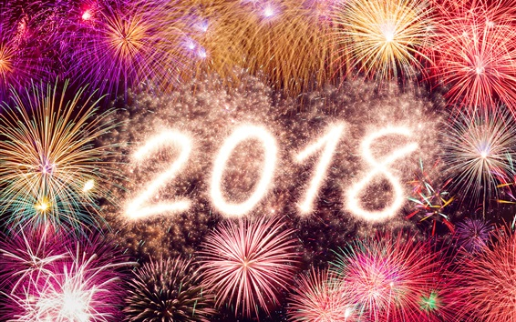 Wallpaper Beautiful 2018, New Year, fireworks, colorful