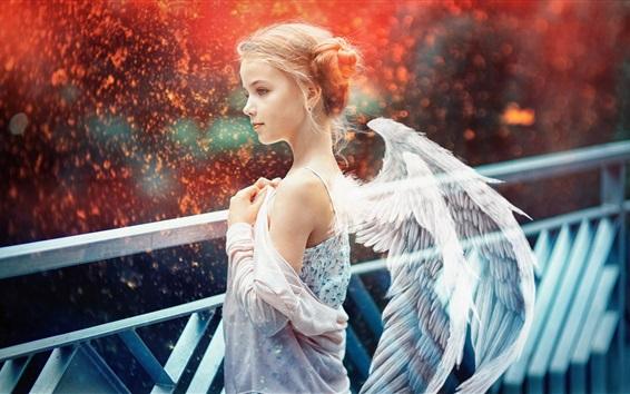 Fond d'écran Belle ange fille, ailes, étincelles