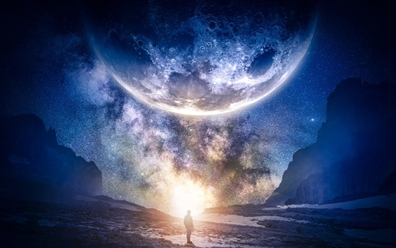 Wallpaper Beautiful planet, starry, sky, galaxy, man