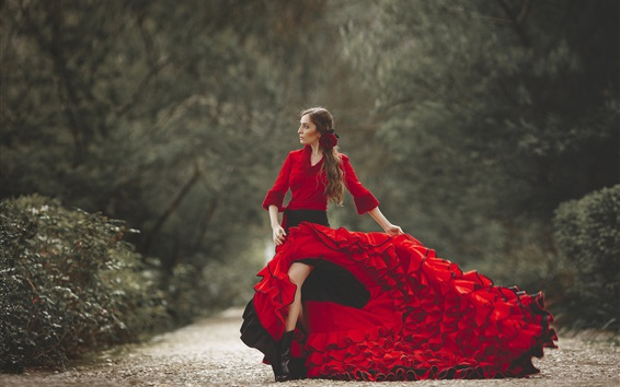 Wallpaper Beautiful red dress woman, pose, flower