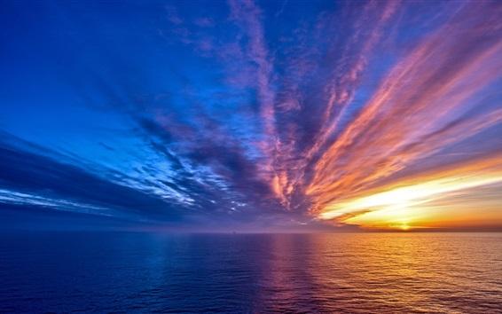 Wallpaper Beautiful sea sunrise, clouds, sun rays