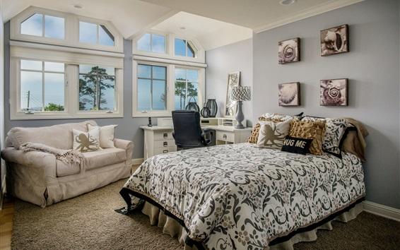 Wallpaper Bedroom, sofa, table, windows