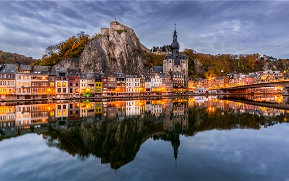 Wallpaper Belgium, Namur, river, water reflection, mountains, houses, lights, dusk