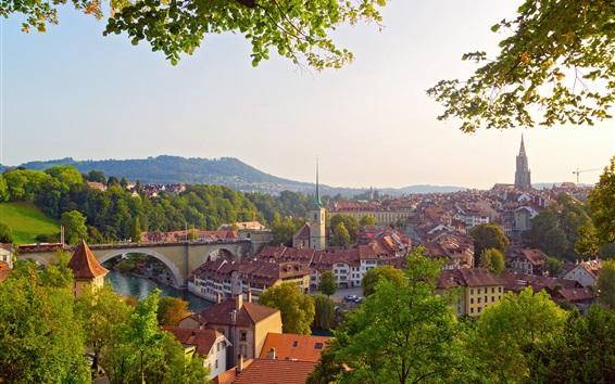 Papéis de Parede Berna, Suíça, cidade, rio, ponte, árvores, casas