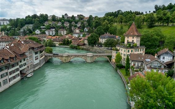Wallpaper Bern, Switzerland, river, bridge, houses
