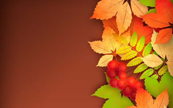 Wallpaper Berries, yellow leaves, autumn, vector picture