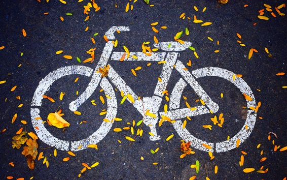 Wallpaper Bike path icon, road, leaves