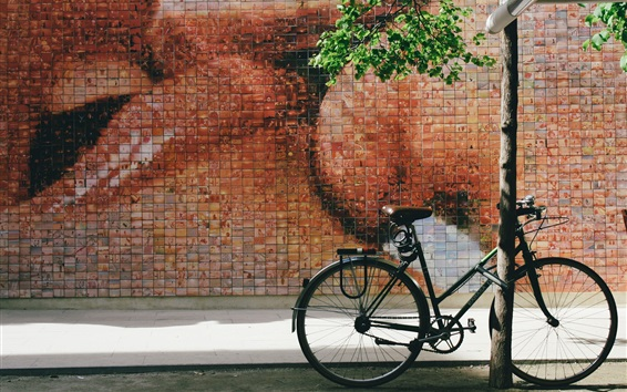 Fondos de pantalla Bicicleta, calle, pared