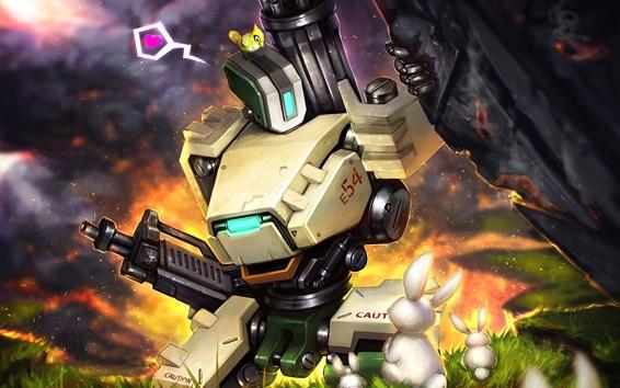 Обои Blizzard, Overwatch, робот, бастион, кролик, художественная фотография
