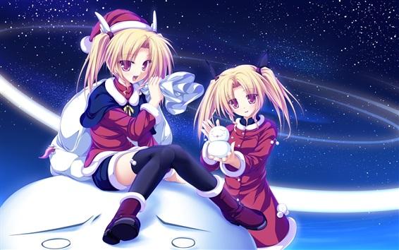 Wallpaper Blonde anime girls, snow, snowman, starry
