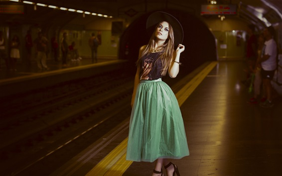 Wallpaper Blonde girl, metro station