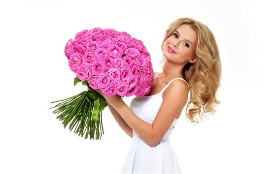 壁纸 金发女孩,玫瑰,白色背景
