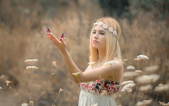 Wallpaper Blonde girl, wreath, butterfly