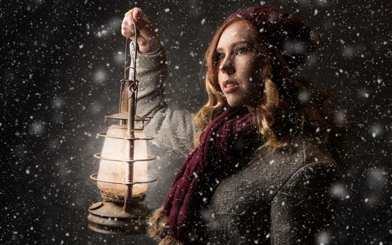 Wallpaper Blonde women, winter, snowy, lantern