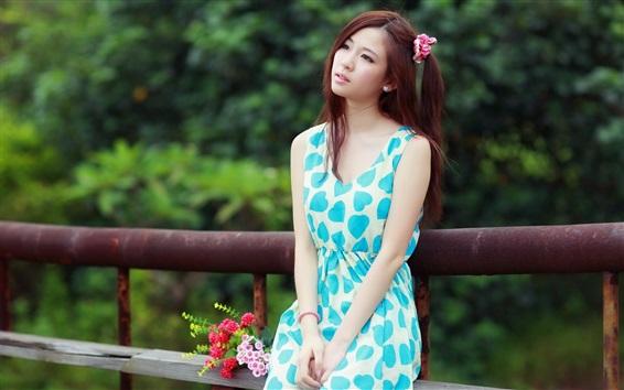 Wallpaper Blue skirt asian girl, pure, flowers