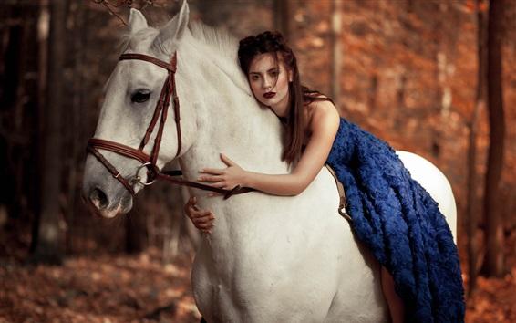 Wallpaper Blue skirt girl embrace white horse