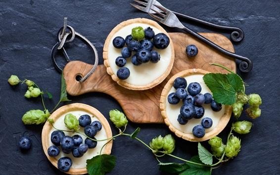 Wallpaper Blueberries, cakes, fork