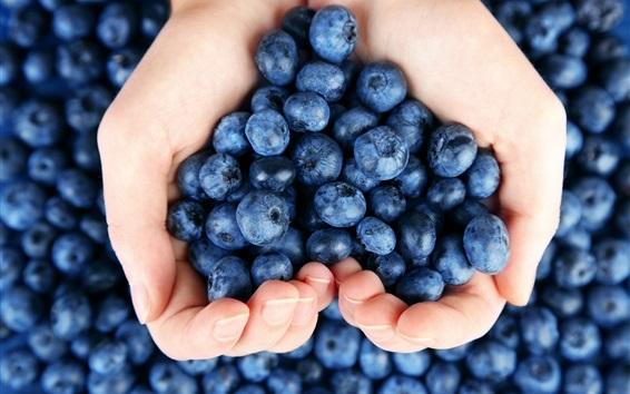 Wallpaper Blueberries in hands