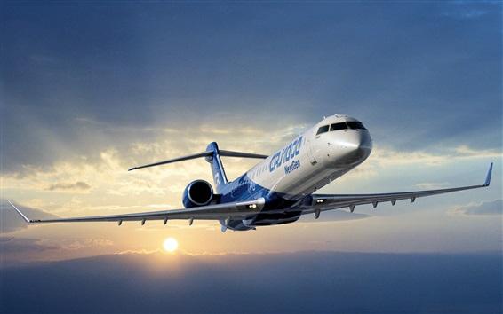 Wallpaper Bombardier CRJ1000 Regional Jetliner, sky, clouds, sunset