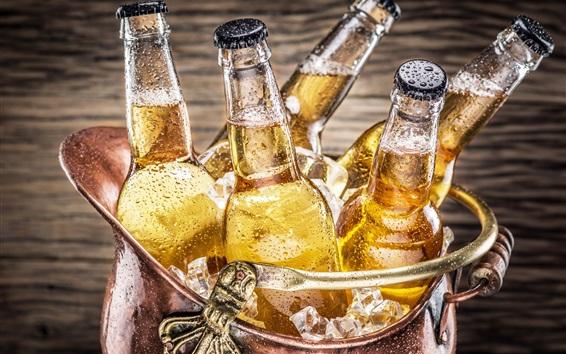 Wallpaper Bottles, beer, drinks, cold, water drops, ice cubes