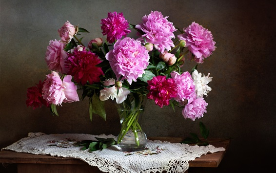 Wallpaper Bouquet, colorful peonies, white, pink, red