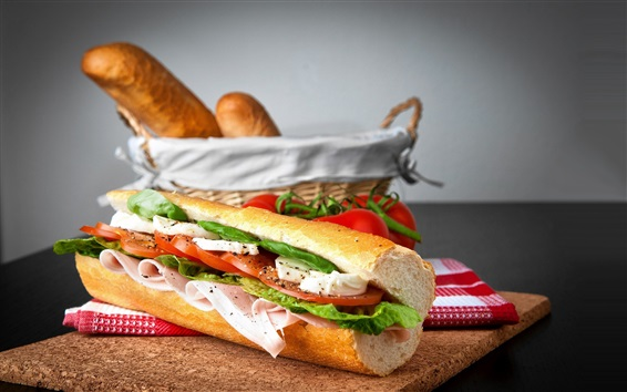 배경 화면 빵, 샌드위치, 햄, 토마토, 음식