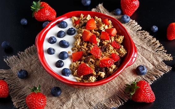 Wallpaper Breakfast, strawberry, yogurt, blueberries, muesli