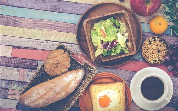 배경 화면 아침 식사, 야채, 빵, 계란, 커피