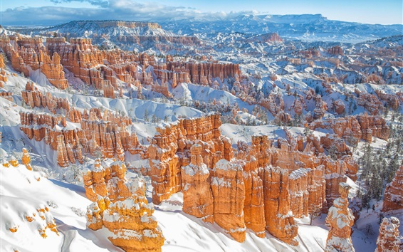 Wallpaper Bryce Canyon in winter, mountains, snow