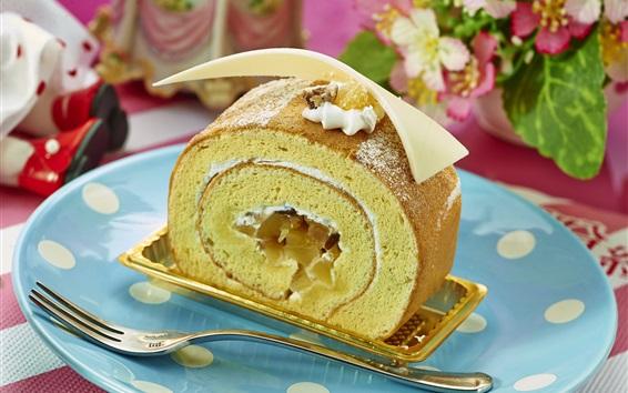 Wallpaper Cake roll, food