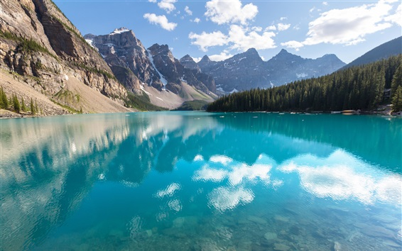 Wallpaper Canada, Banff National Park, lake, forest, trees, reflection