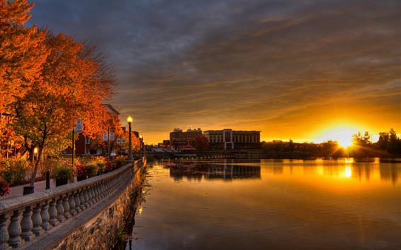 Wallpaper Canada, Quebec, Sherbrooke, promenade, lights, river, dawn, sunrise