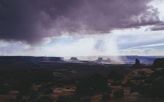 Wallpaper Canyonlands National Park, clouds, mountains, canyon, sun rays, USA