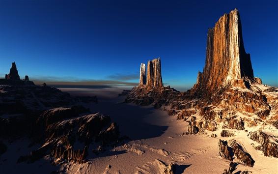 Fond d'écran Canyons, rochers, neige, hiver