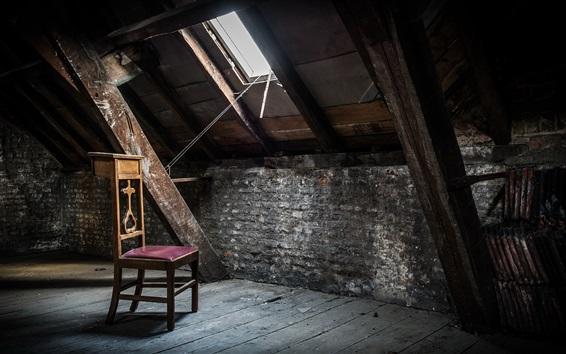 Fond d'écran Chaise, grenier, fenêtre