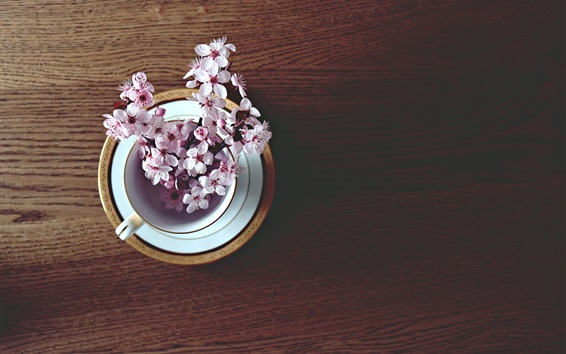 Wallpaper Cherry flowers, cup